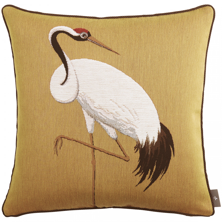 Cushion cover Tapestry One white crane