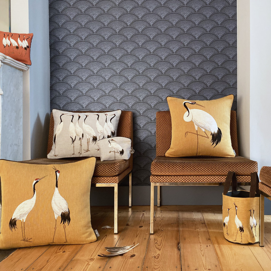 Housse de coussin tapisserie Grues blanche