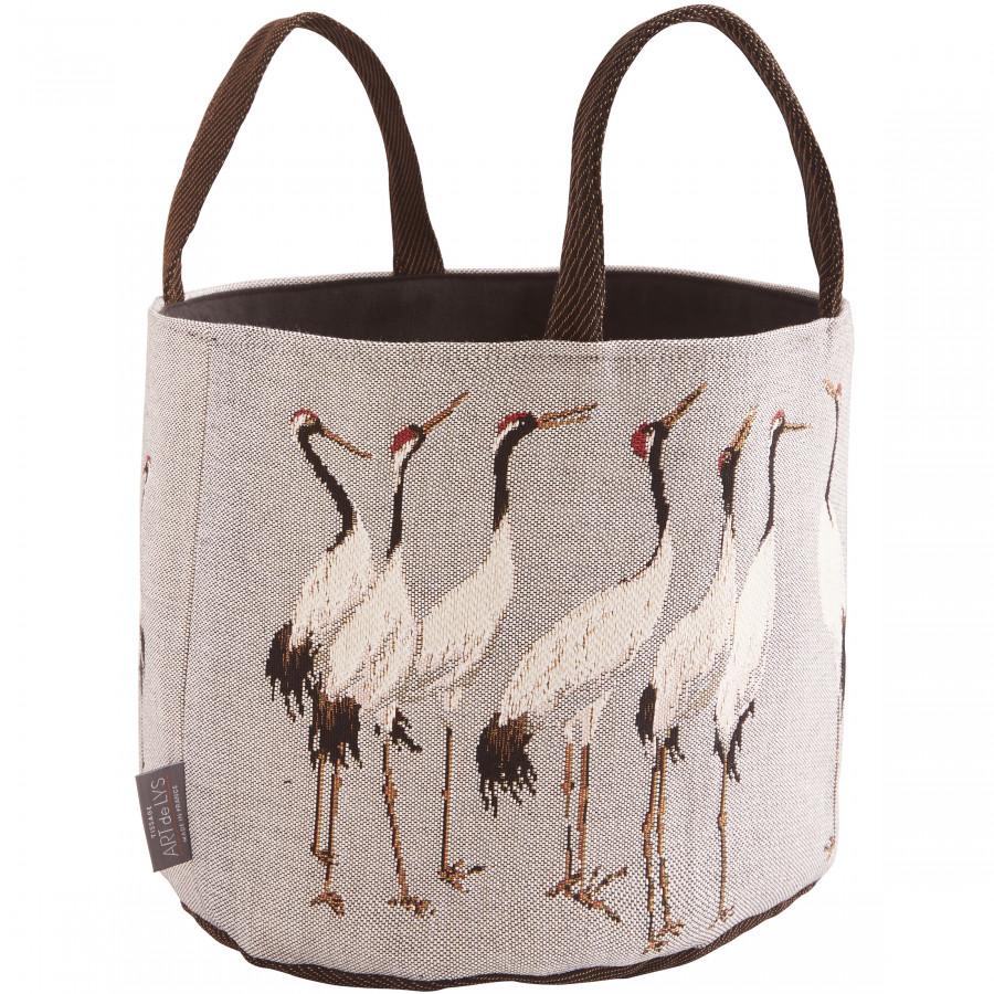 Tapestry basket White Cranes