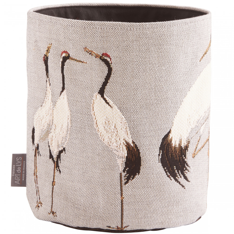 Small tapestry basket White cranes