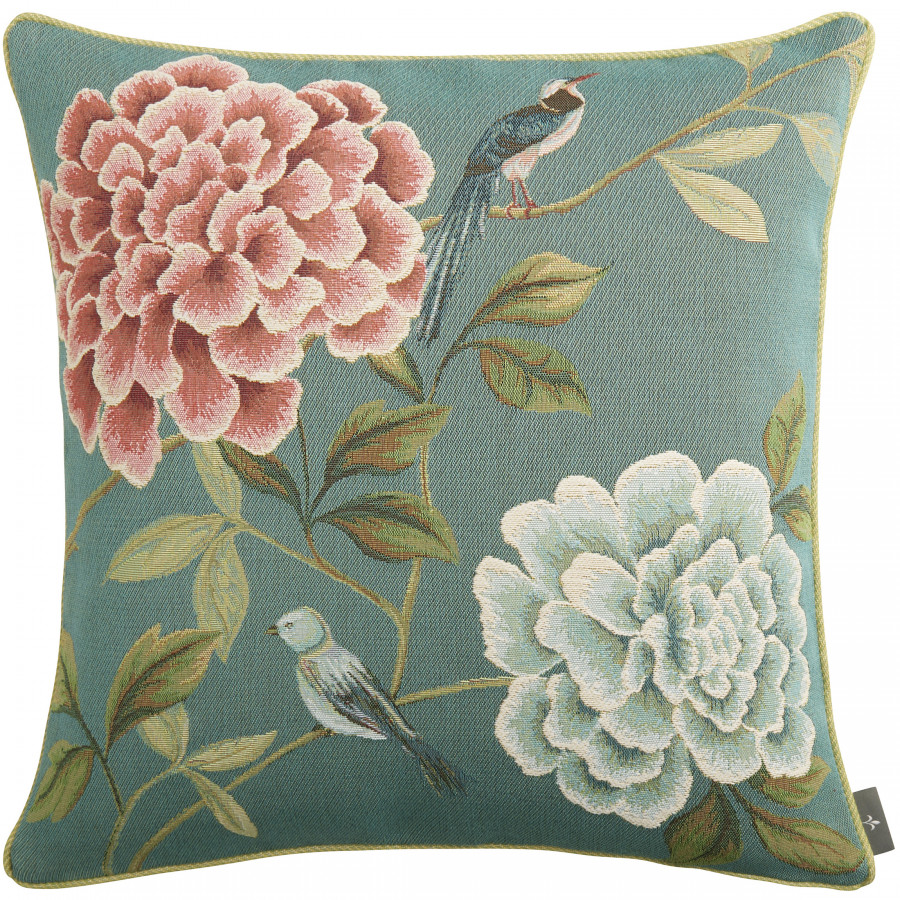 Tapestry cushion cover flower blue birds