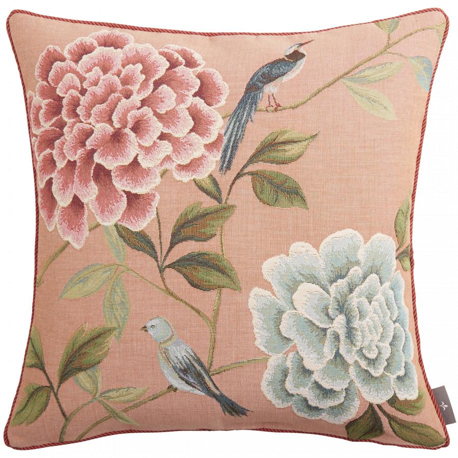 Housse de coussin tapisserie Fleurs oiseaux bleus