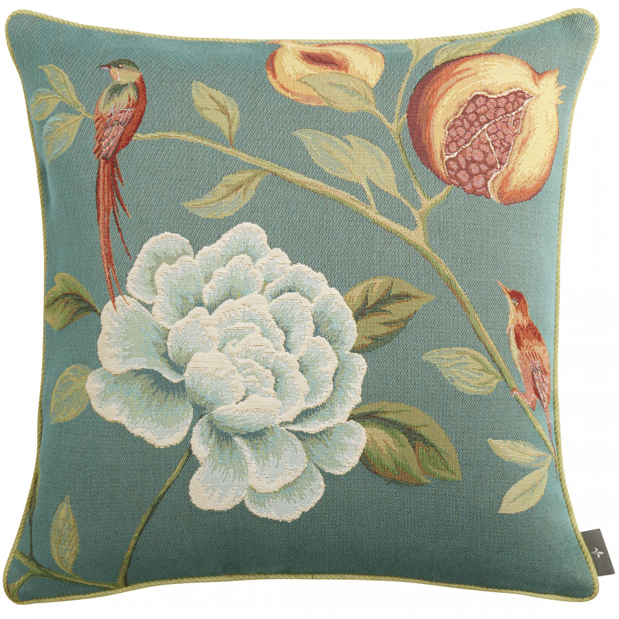 Tapestry cushion cover Pomegranate red birds