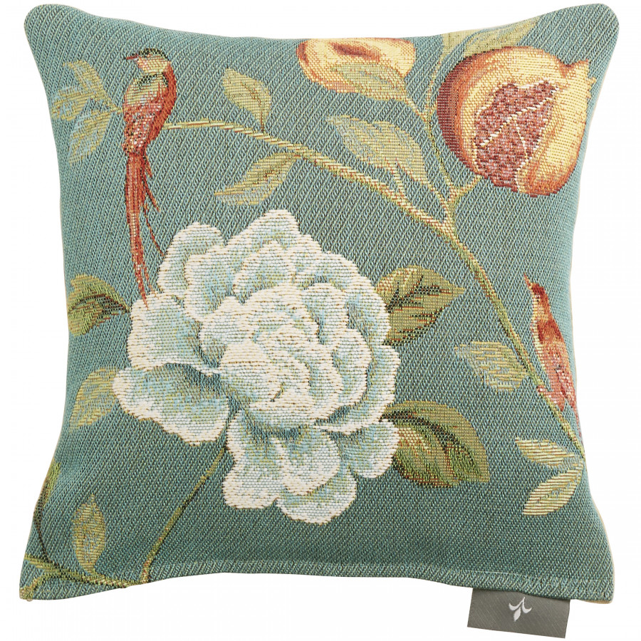 Small tapestry cushion flower blue birds