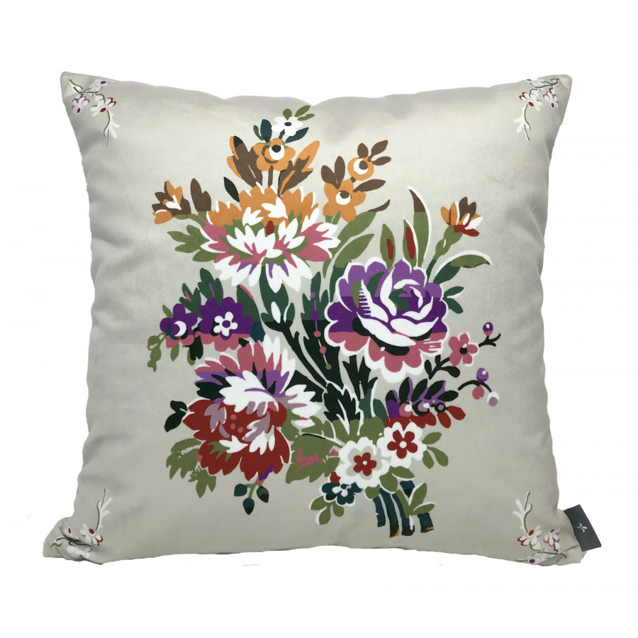 Cushion cover Printed Bouquet Louis XV velvet
