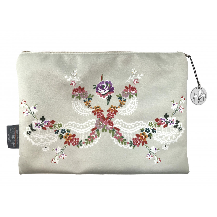 Cosmetic bag Printed purse Bouquet Louis XV Velvet