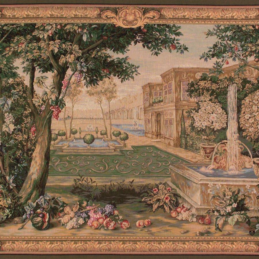 Tapisserie Verdure fontaine