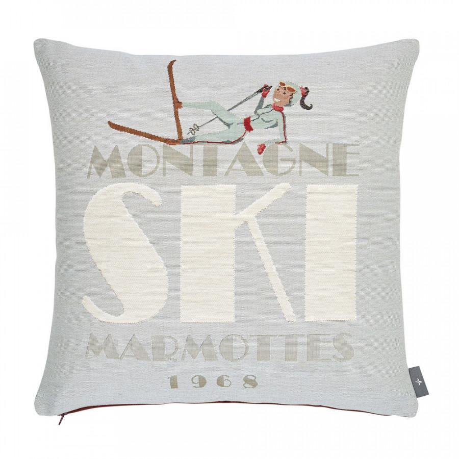 Housse de coussin tapisserie Chute de ski