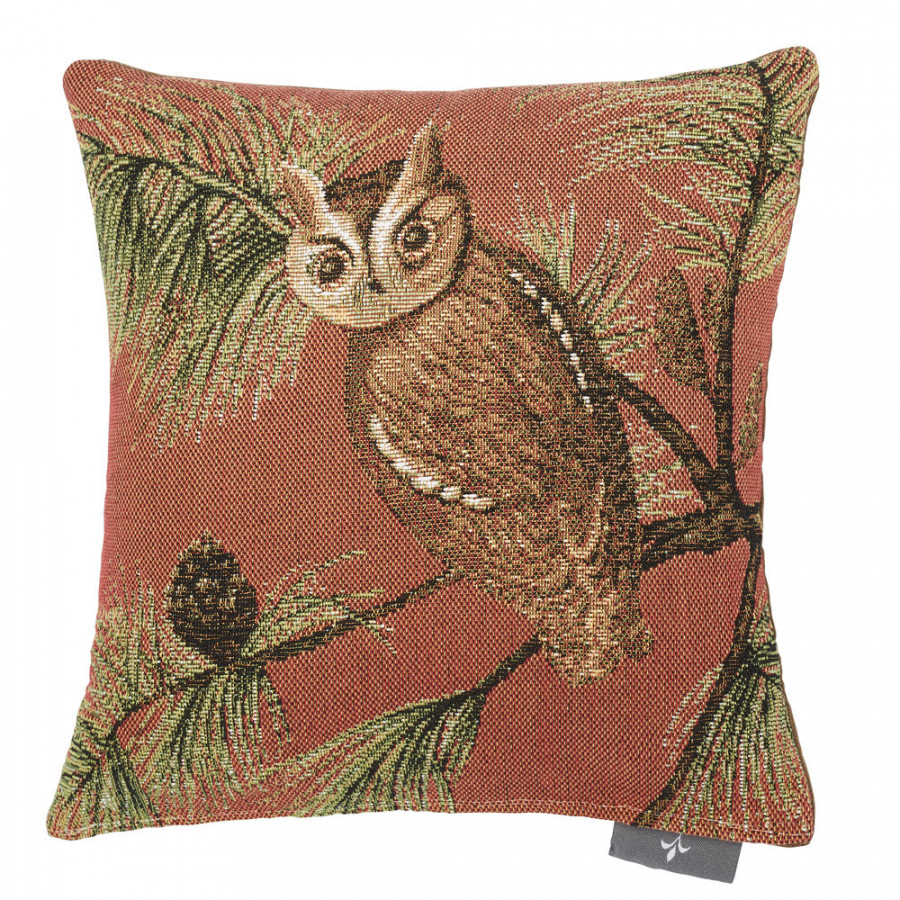 Small tapestry cushion Red owl