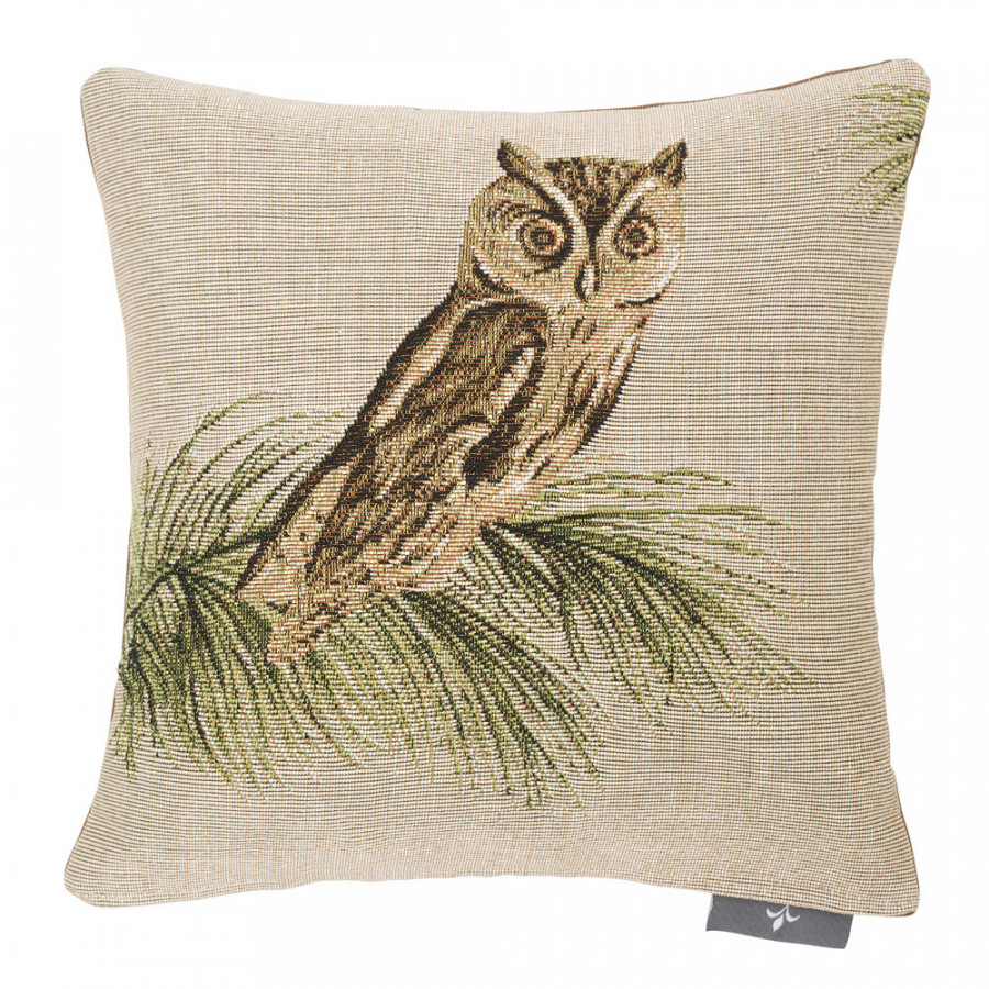 Small tapestry cushion Beige Owl