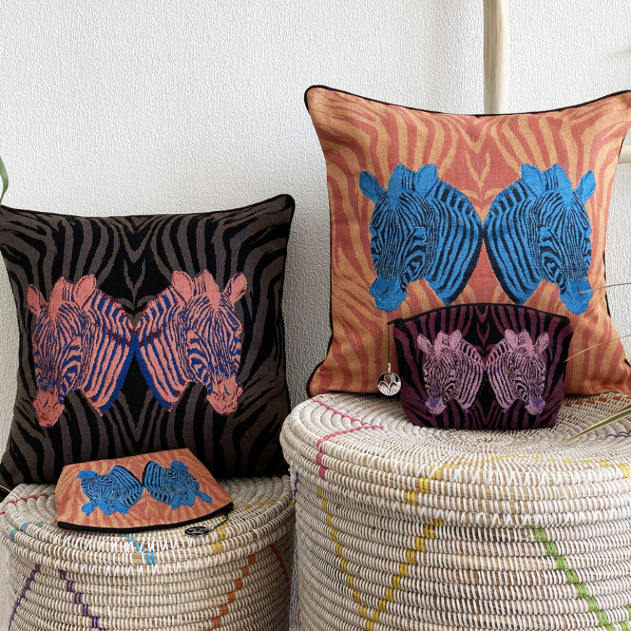Tapestry cushion cover Coloured zebras