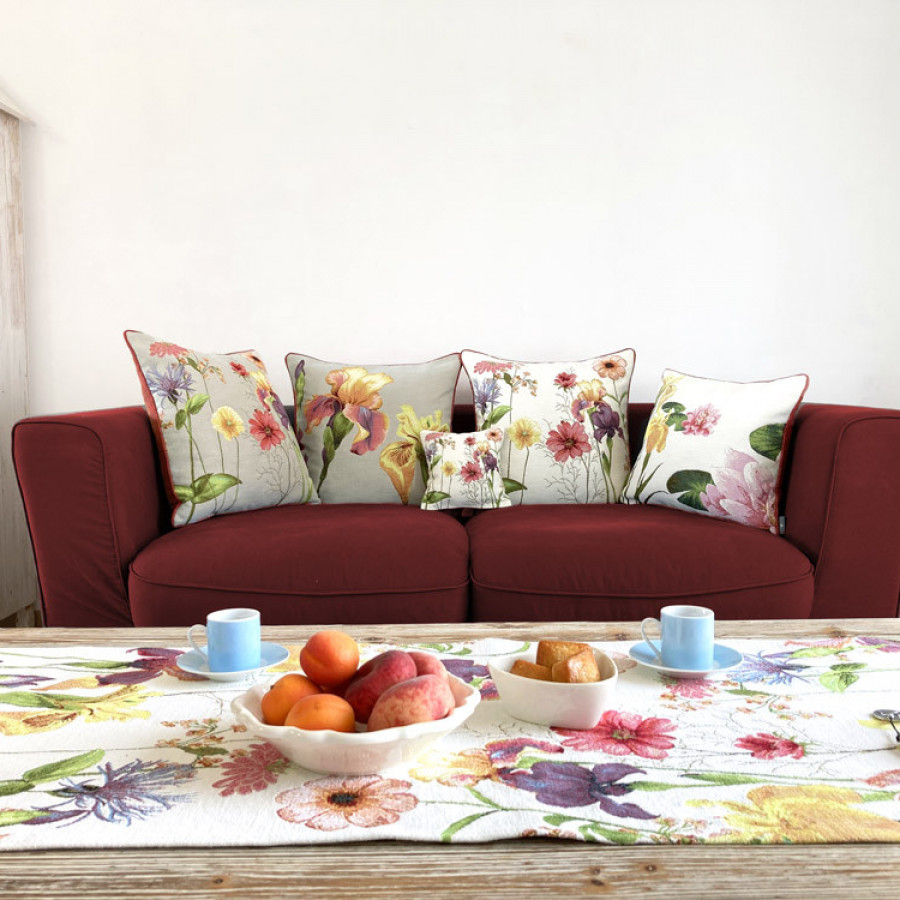 Tapestry cushion cover Giverny Iris and Nymphea
