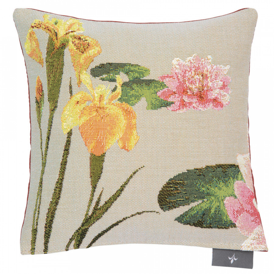 Small filled tapestry cushion Giverny multi flowers