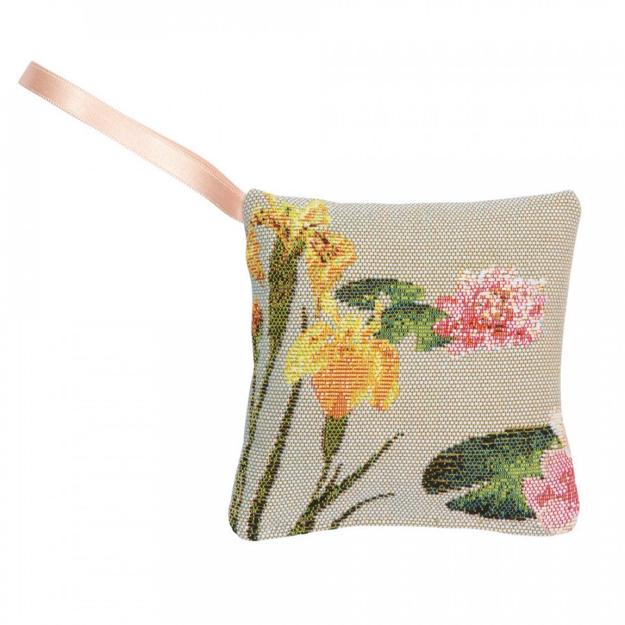 Scented  tapestry mini cushion Giverny multi flowers