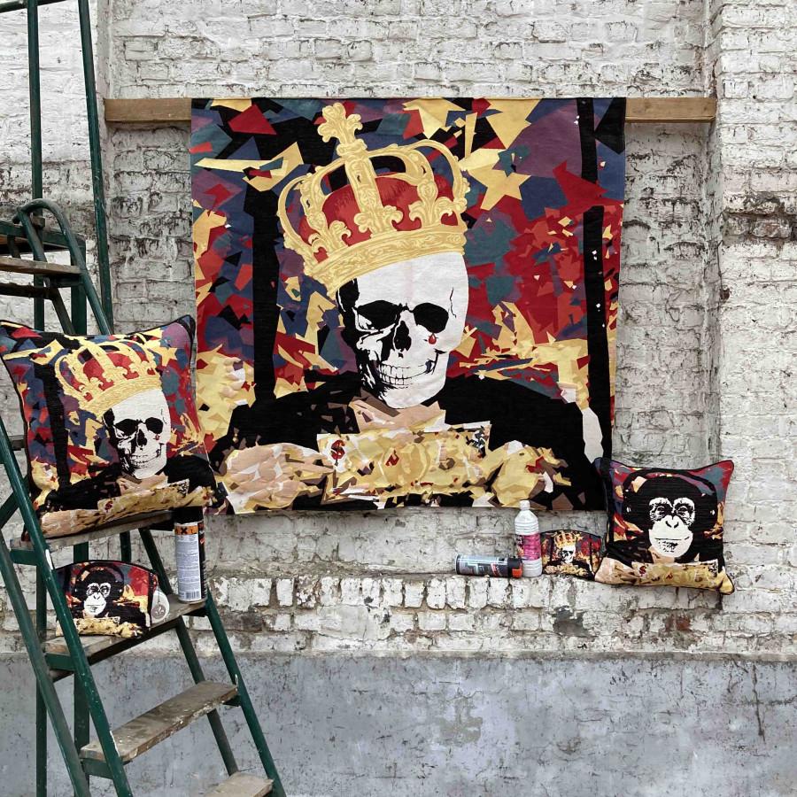Tapisserie NY Street Art crâne