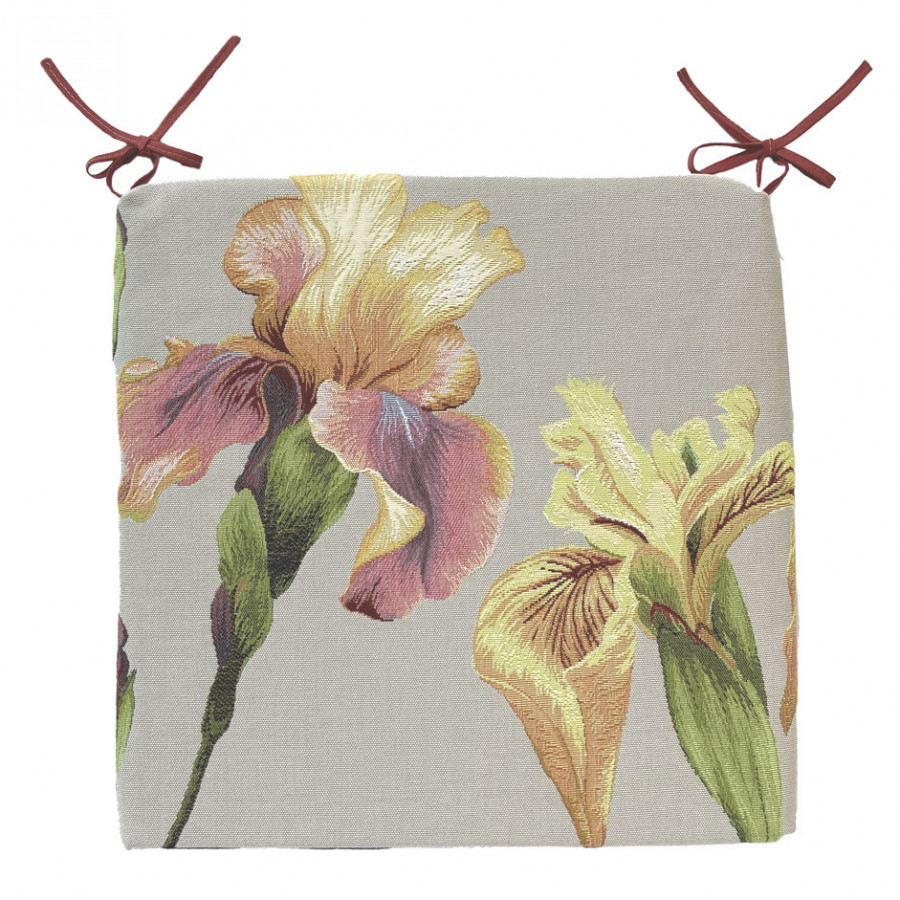 Tapestry chair pad Giverny Iris