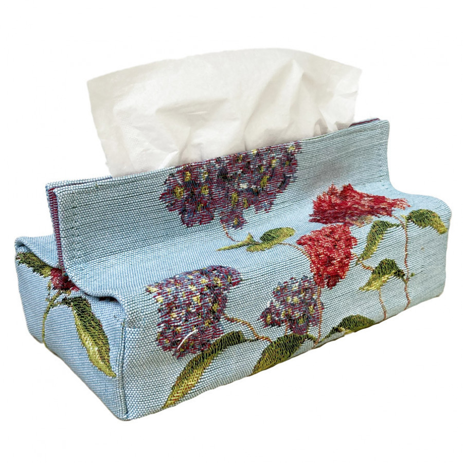 Tapestry tissue box case Hydrangea