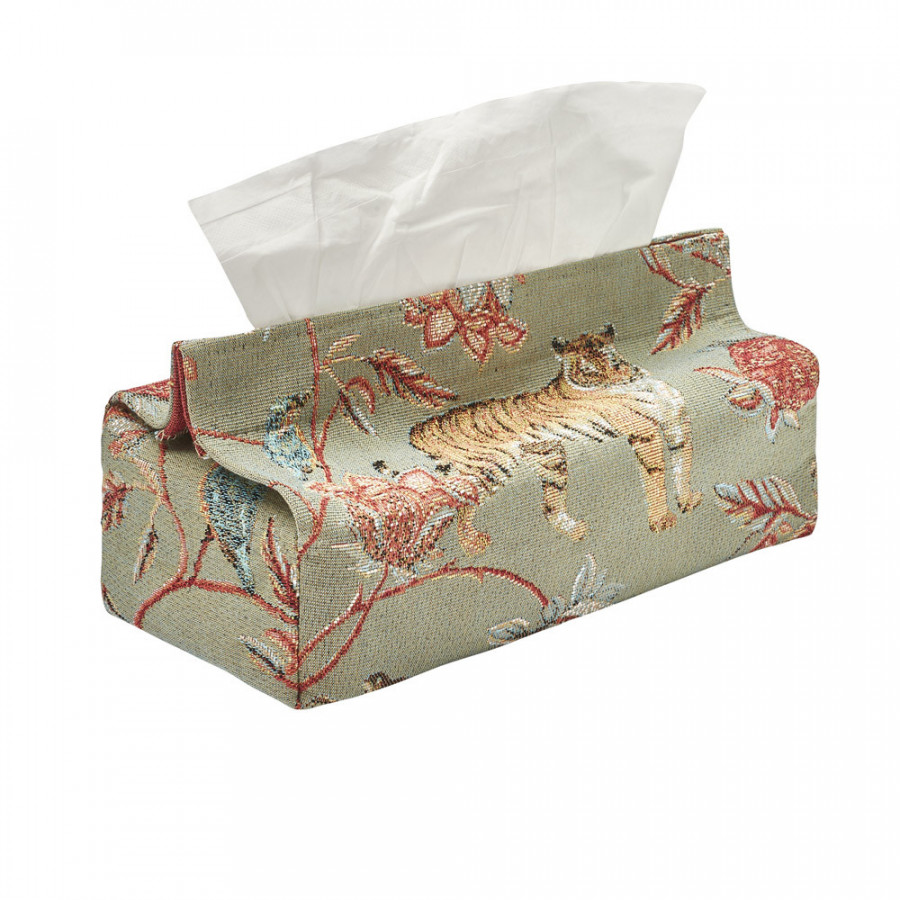 Tapestry tissue box case Floral Indian
