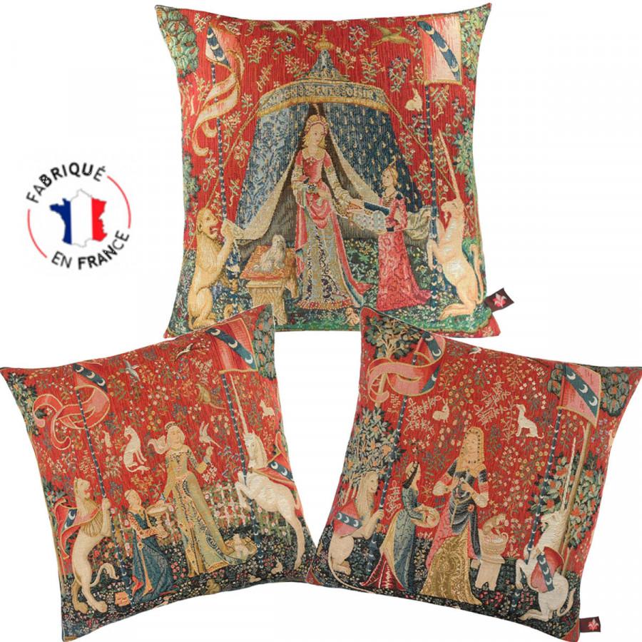"""Set of 3 cushions """" Lady with Unicorn"""""""