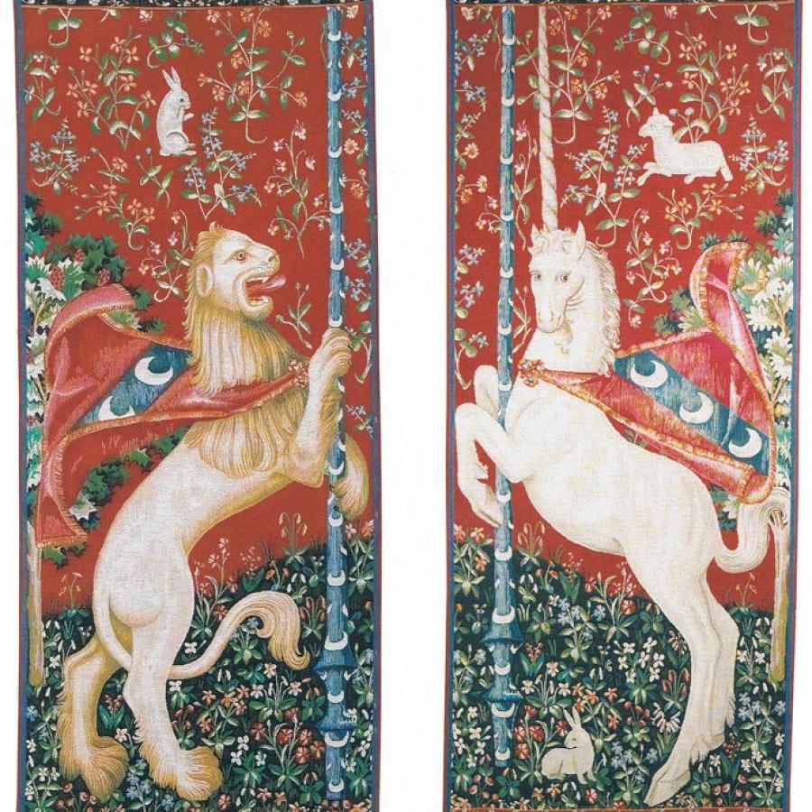 Portière la licorne et le lion