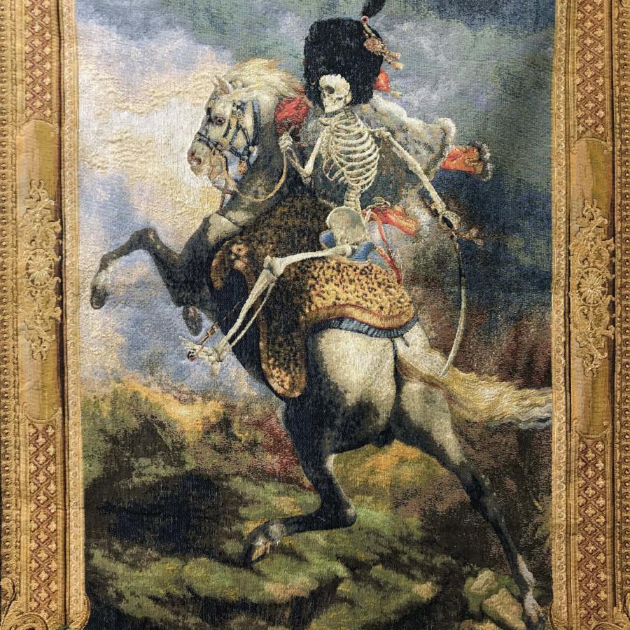 Tapisserie cavalier squelette