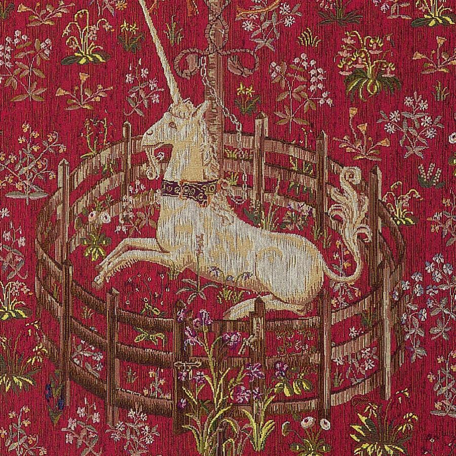 Tapestry Licorne captive rouge