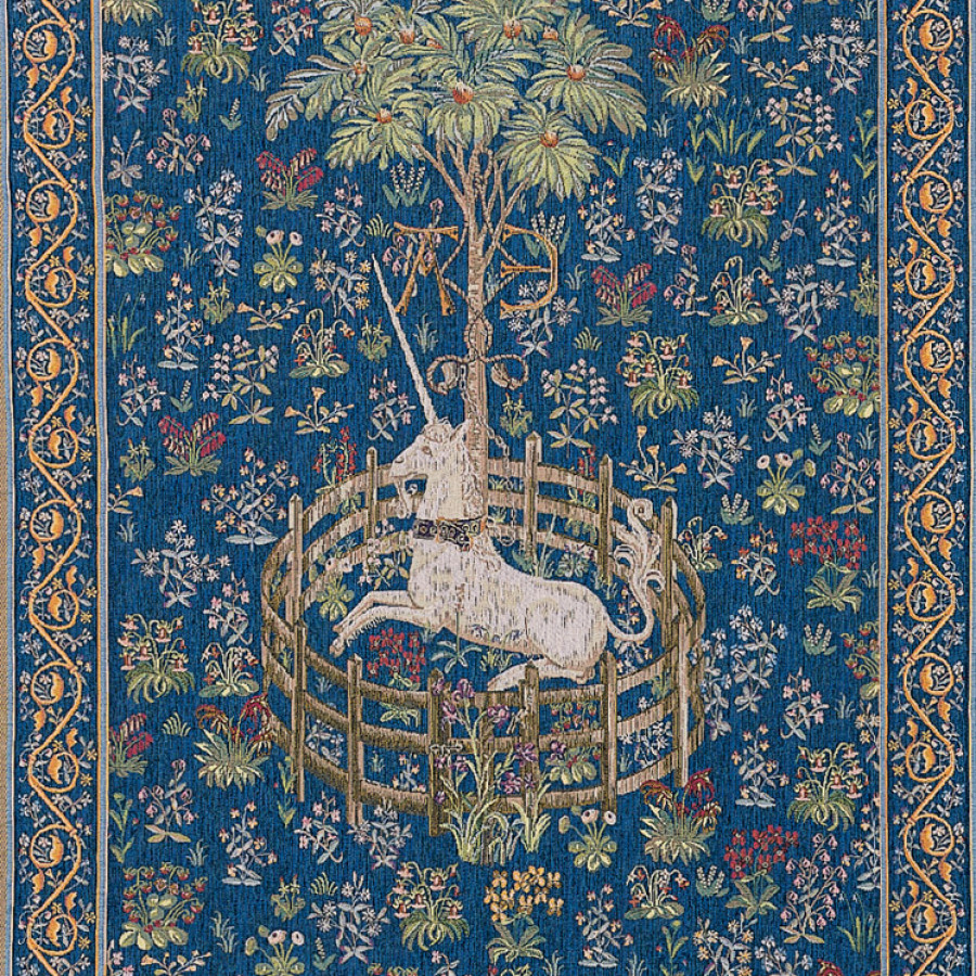 Tapestry  Licorne captive bleue