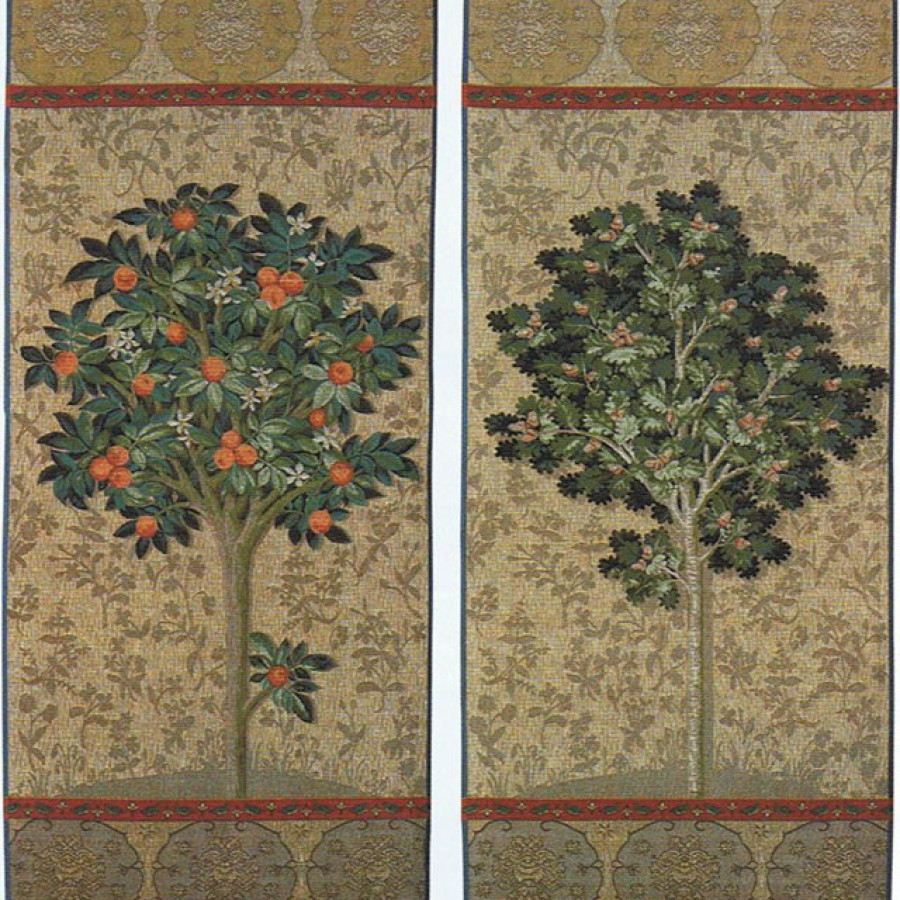 Set of 2 tapestries : the orange tree and the tree