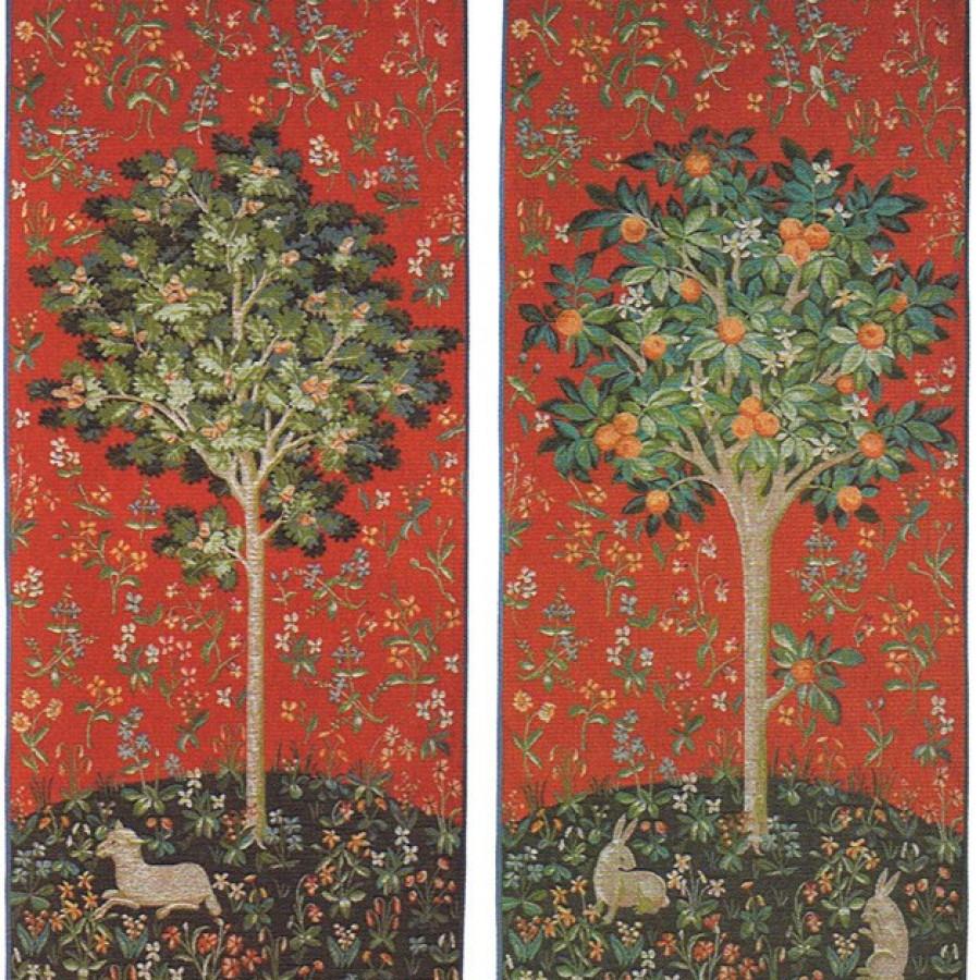 Lot de 2 tapisseries le chêne et l'oranger (rouge)