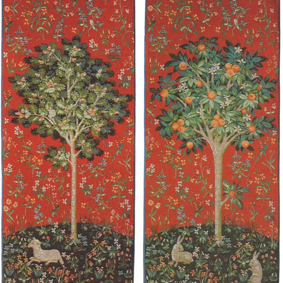 Set of 2 tapestries : the oak and the orange tree (red)