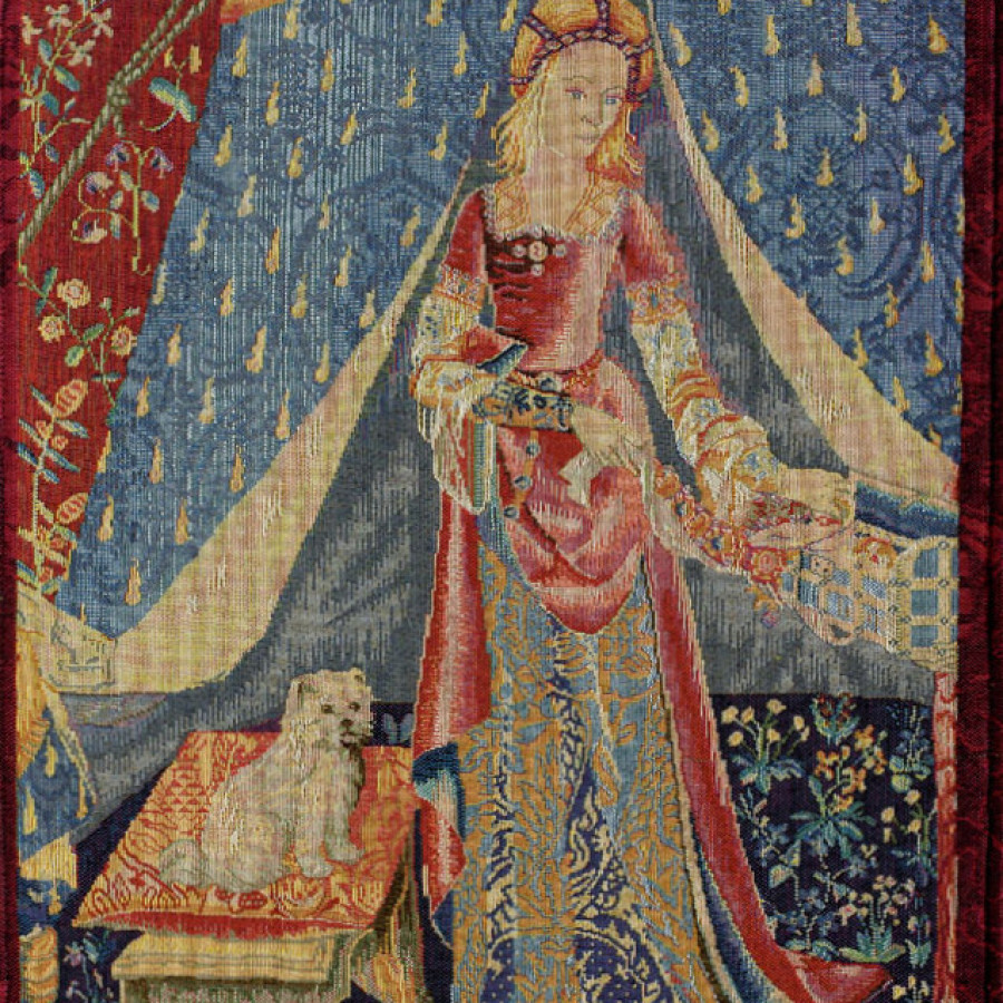 Tapestry  Dame au chien