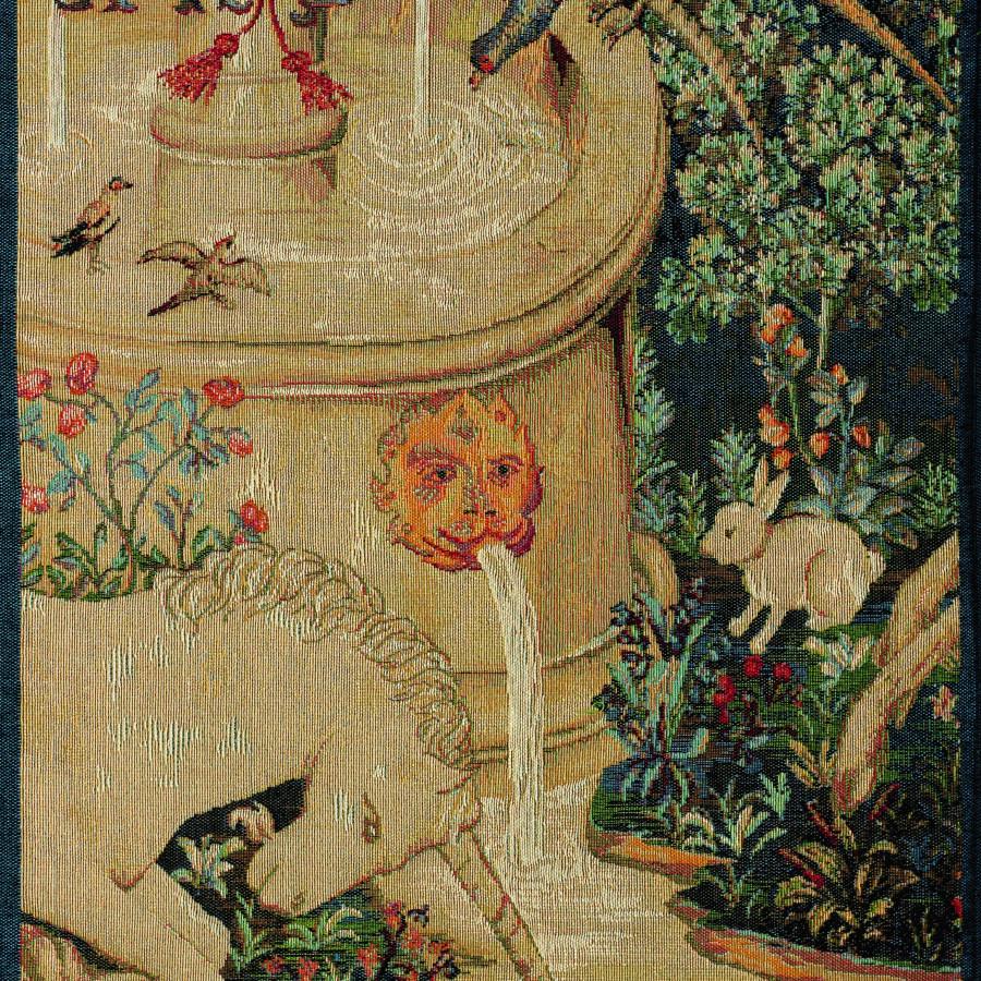 Tapestry unicorn fountain