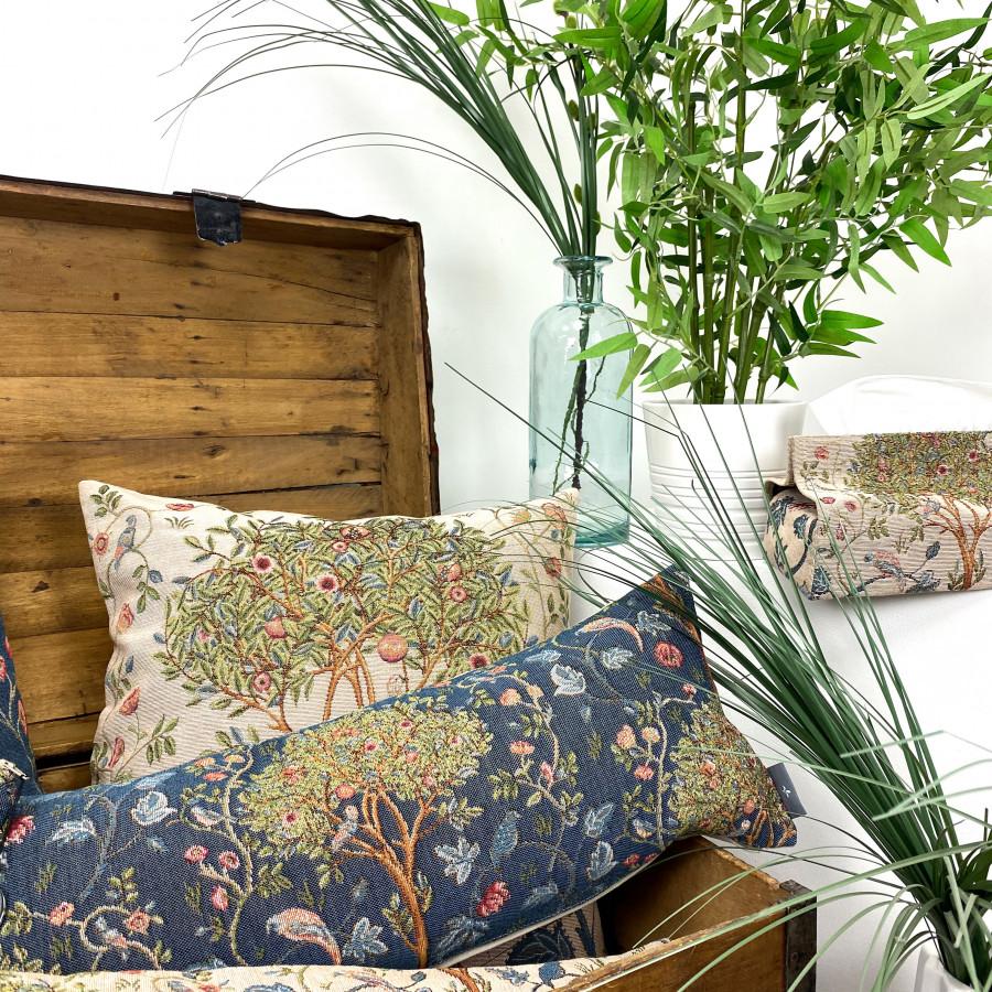 Small filled tapestry cushion Kelmscott Tree