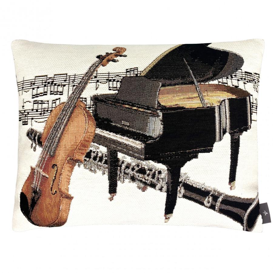 Housse de coussin La musique piano et violon