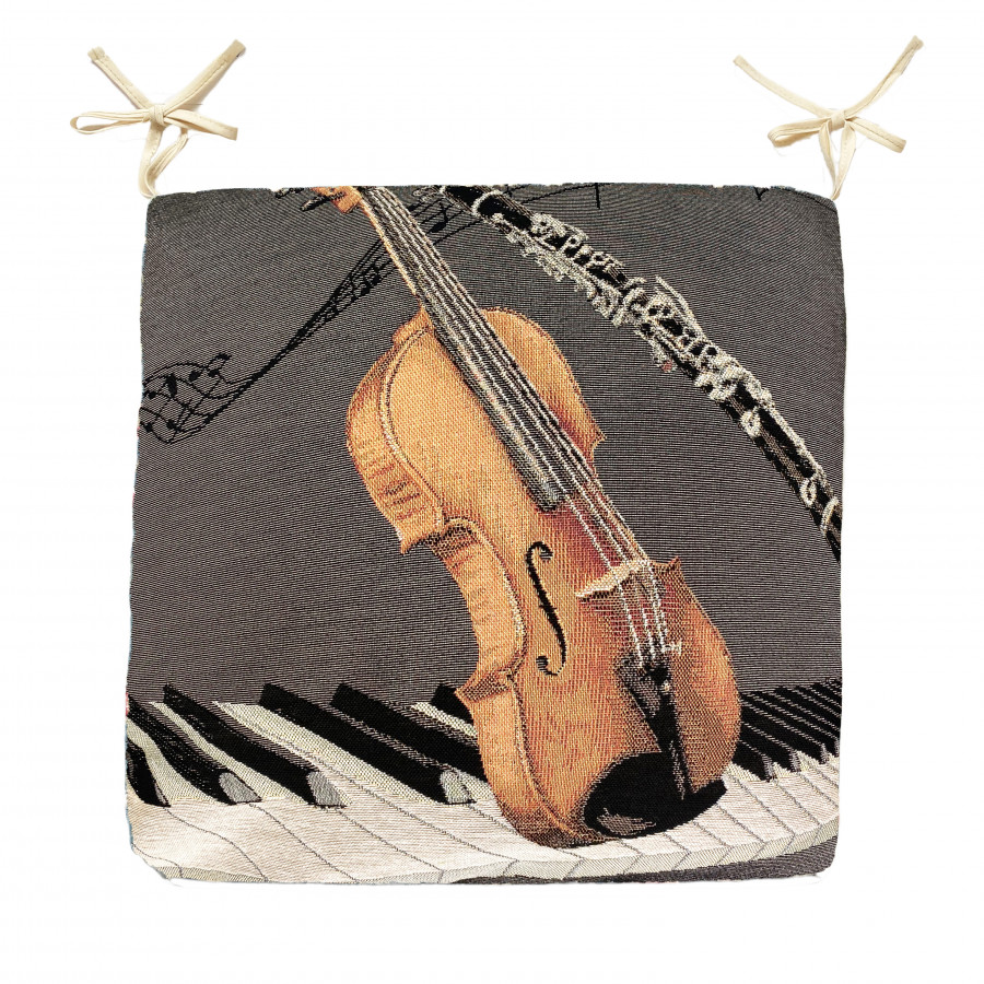 Tapestry chair pad Music violin and clarinet