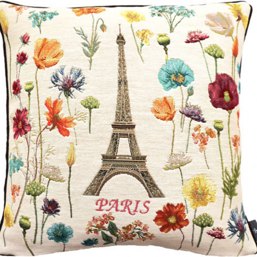 Cushion cover Eiffel tower and bright flowers