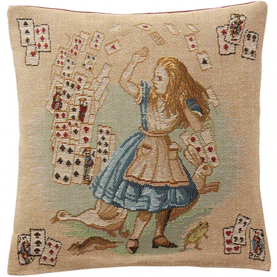 Housse de coussin Jeux de cartes, Alice au pays des merveille