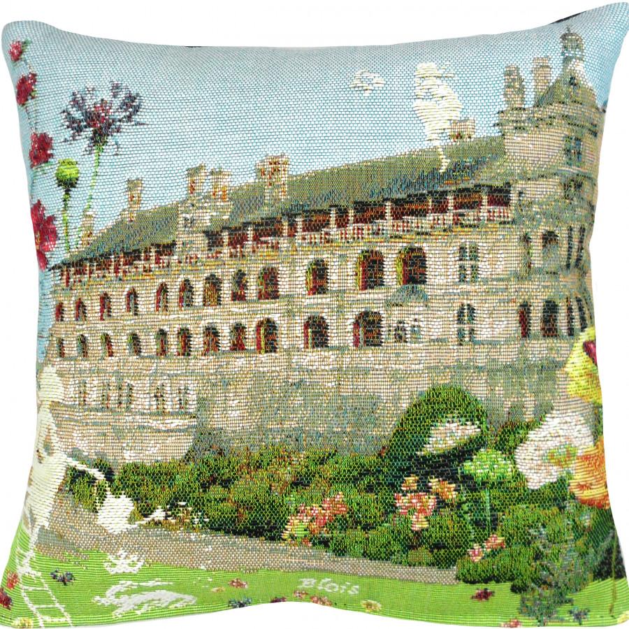 Housse de coussin Château de Blois fleuri