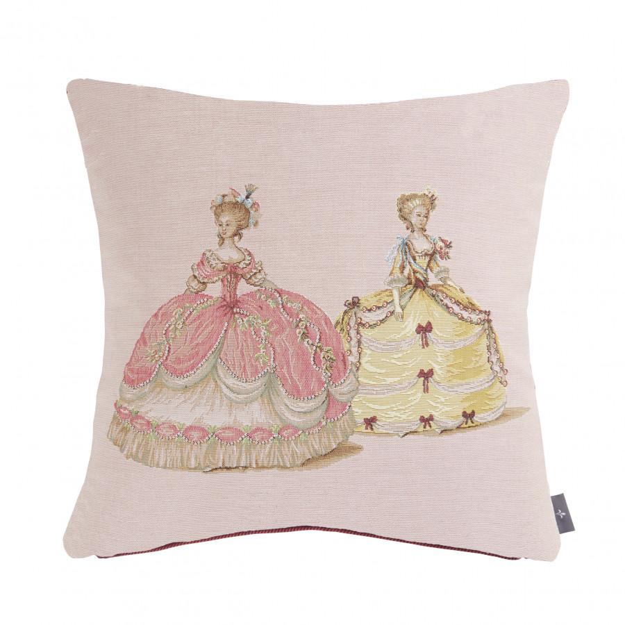 Housse de coussin Duchesses rose et jaune