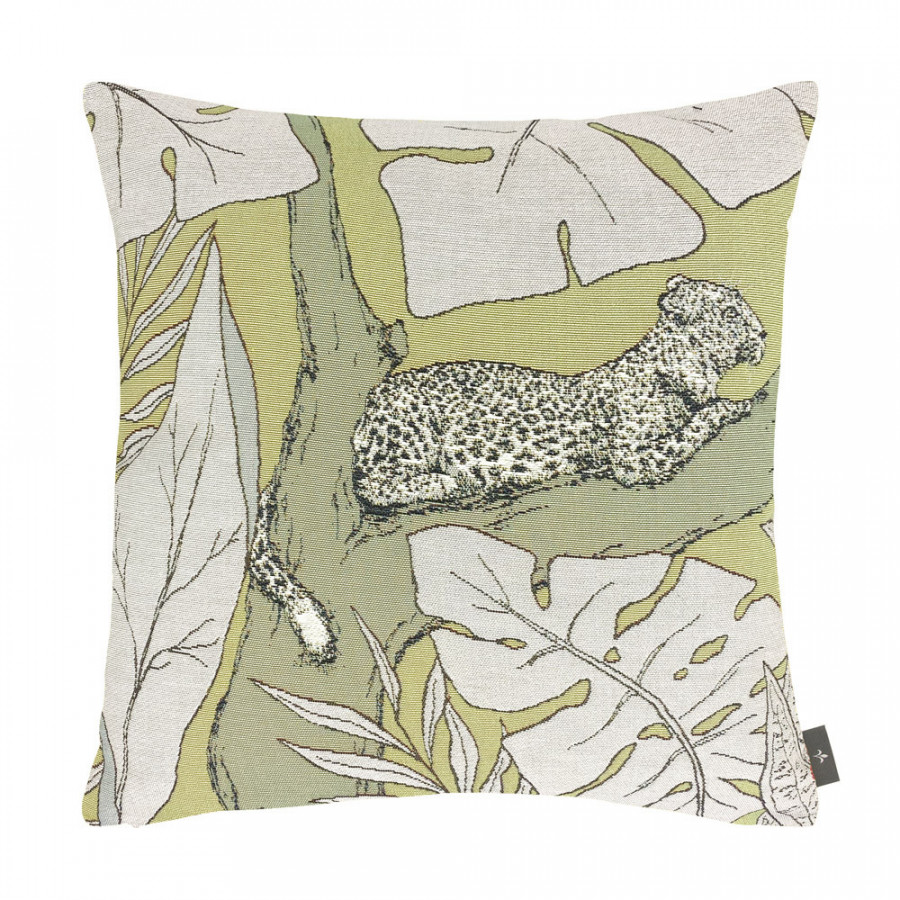 Cushion cover panther and foliage