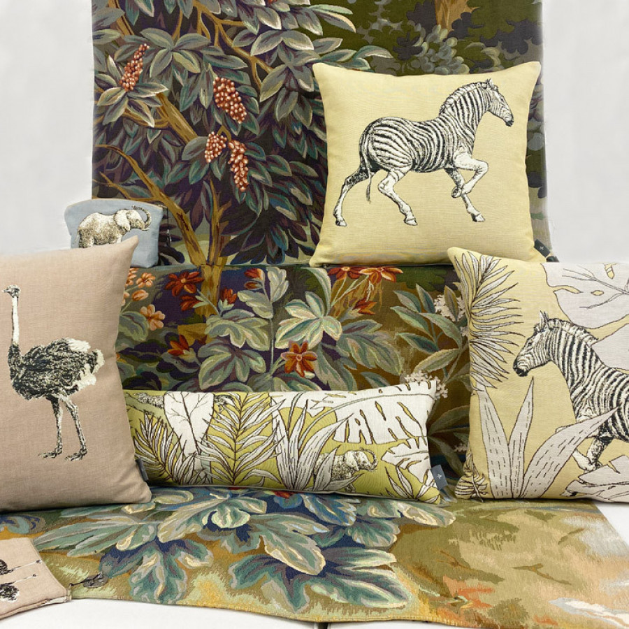 Tapestry tissue box Ostriches