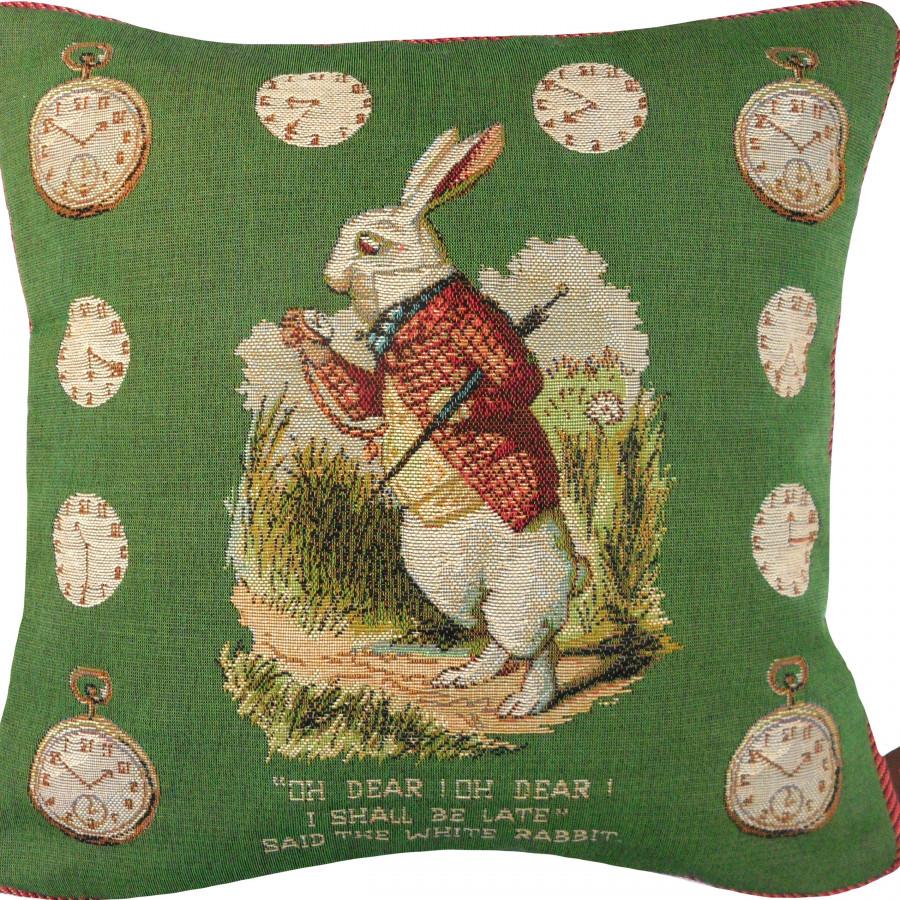 Cushion cover Late Rabbit, Alice in Wonderland