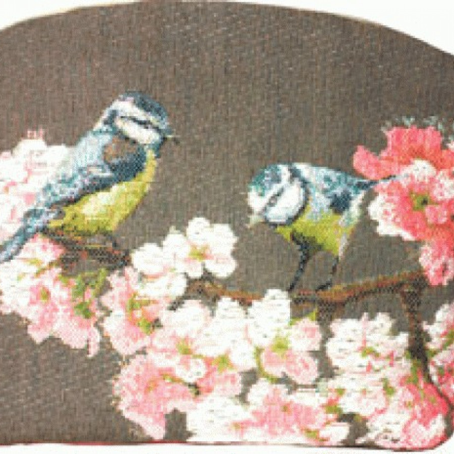Cosmetic bag Passerines on branch